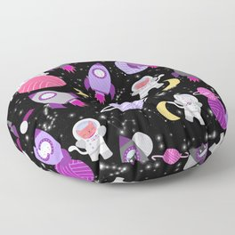 Purple Pink Cat Astronaut Outer Space Pattern Floor Pillow