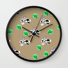 Bunnies Pattern Wall Clock