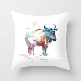 Wildebeest 2 / Abstract animal portrait. Throw Pillow