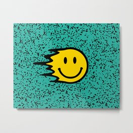 Smiley Face on Turquoise Leopard Print Metal Print