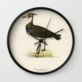 Nortnern lapwing (vanellus vanellus) illustrated by the von Wright brothers Wall Clock