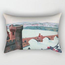 Lyon avignon vintage travel poster Rectangular Pillow