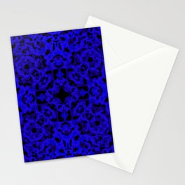 Complex ornament of blue spots and velvet blots on black. Stationery Cards
