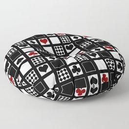 Casino, playing cards, suits of hearts, crosses, clubs Floor Pillow