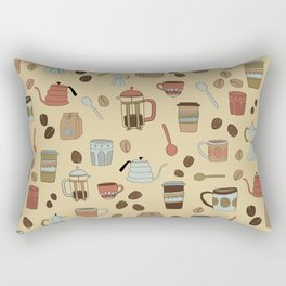 Coffee Love Patten / Cute Coffee Design / Caffeine Addict / Coffee Art / French Press / Coffee Shop Rectangular Pillow