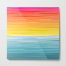 Sunset on the Ocean Minimalist Painting Metal Print