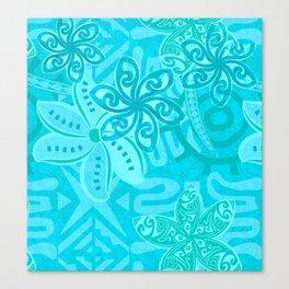 Polynesian Ocean Turqoise Jungle Print Canvas Print