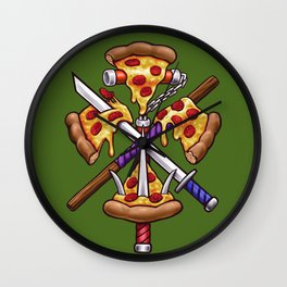 Ninja Pizza Wall Clock