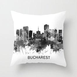 Bucharest Romania Skyline BW Throw Pillow