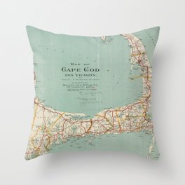 Vintage Map of Cape Cod (1917) Throw Pillow