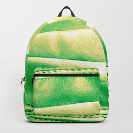 green and yellow denim Backpack