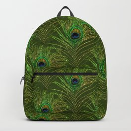 Peacock Glitter Feather Pattern 09 Backpack