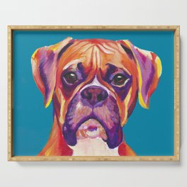 Boxer Face Blue boxer dog breed funny dog animals pets Serving Tray