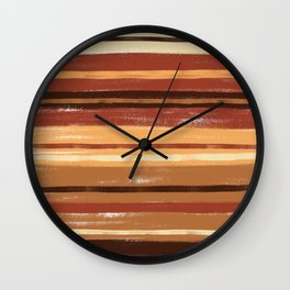 Brown and Cream  Pastel Stripes Retro Abstract Wall Clock