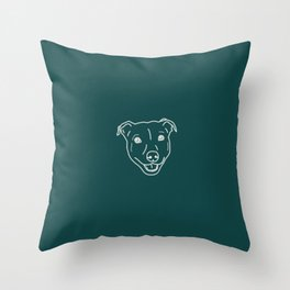 Smiling staffy (Staffordshire bull terrier) pitbull bully breed dog  on green teal background Throw Pillow