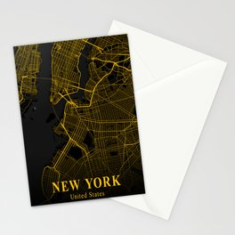New York City Map | Gold City Street Map | United States Cities Maps Stationery Cards
