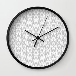 Japanese Waves (White & Gray Pattern) Wall Clock