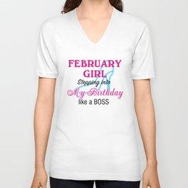 February Girl Birthday Unisex V-Neck