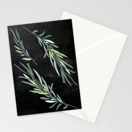 Eucalyptus leaves on chalkboard Stationery Cards