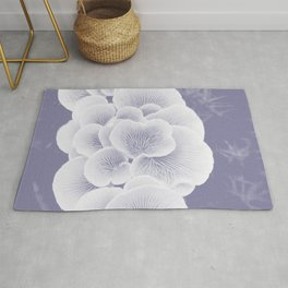 wood mushroom phantom violet tone botanical art washed out effect aesthetic photography Rug