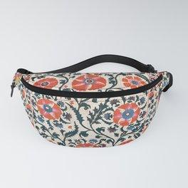 Shakhrisyabz Suzani  Uzbekistan Antique Floral Embroidery Print Fanny Pack