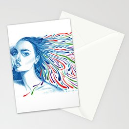 Woman with Squiggly Hair Blowing in the Wind Stationery Cards