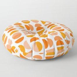 Mid Century Modern Tangerine Geometry Floor Pillow