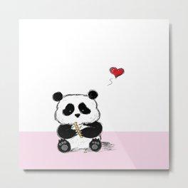 Cute Panda on Pink Mat Metal Print