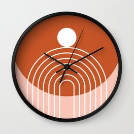 Mid Century Modern Geometric 62 in Terracotta Rose Gold (Rainbow Sun Abstraction) Wall Clock
