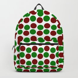 Modern Holiday Red and Green Bold Dots Pattern Backpack
