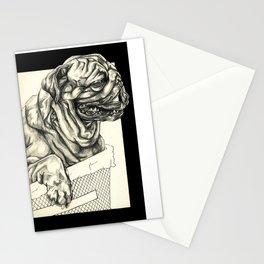 Geometric Black and White Animal portrait Pug Stationery Cards