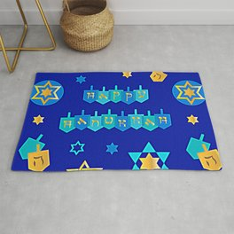 Happy Hanukkah Banner with Star of David Pattern Rug