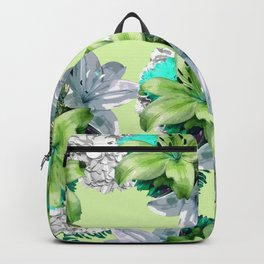 GREEN LILY WHITE ROSES FLORAL PATTERN Backpack