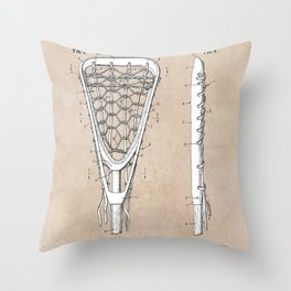 patent art Tucker Lacrosse stick 1967 Throw Pillow