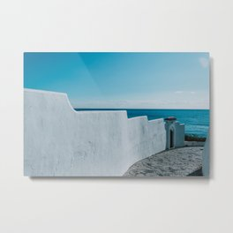 White wall, blue ocean and sky in Andalusia, Spain. Seascape photography. Ocean Horizon Metal Print