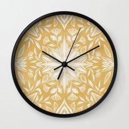 Garden Mandala in Mustard Wall Clock