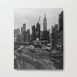 New York City Skyline and Railyard in Black & White Metal Print