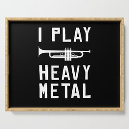 I Play Heavy Metal Repeat Musicans Instrument Serving Tray