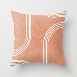 Mid Century Modern 2 - Geometrical Abstract - Minimal Print - Terracotta Abstract - Burnt Sienna Throw Pillow