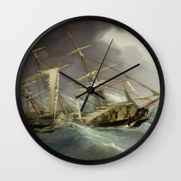 Vintage Destroyed Sailboat During Storm Painting (1859) Wall Clock