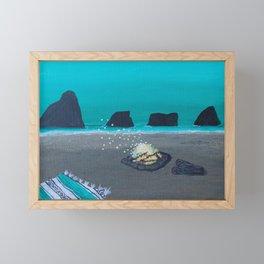 Beach Bon Fire in California Framed Mini Art Print