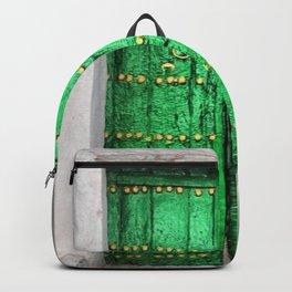 Green Patina Vintage Doorway Photograph Backpack