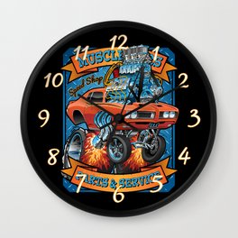 Classic Sixties Muscle Car Parts & Service Cartoon Wall Clock
