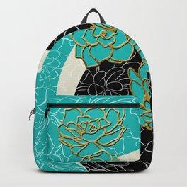 Golden Flowers on Luxury Blue Backpack