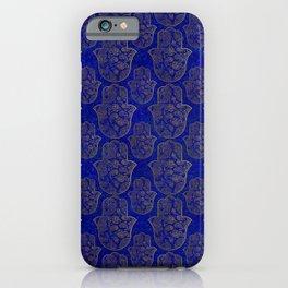 Hamsa Hand pattern - gold on lapis lazuli iPhone Case