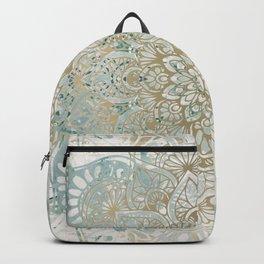 Mandala Flower, Teal and Gold, Floral Prints Backpack