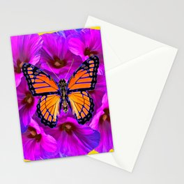 ORANGE MONARCH BUTTERFLY ON PURPLE BOUQUET Stationery Cards