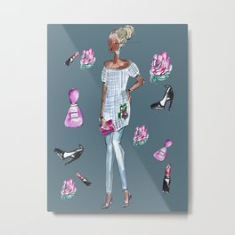 May Fashion Flowers and More (Teal Background) Metal Print