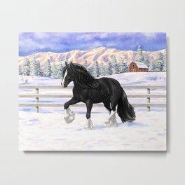 Black Gypsy Vanner Draft Horse Running in Snow Metal Print