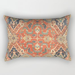 Geometric Leaves VII // 18th Century Distressed Red Blue Green Colorful Ornate Accent Rug Pattern Rectangular Pillow
